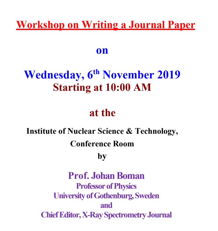 Workshop on Writing a Journal Paper flyer